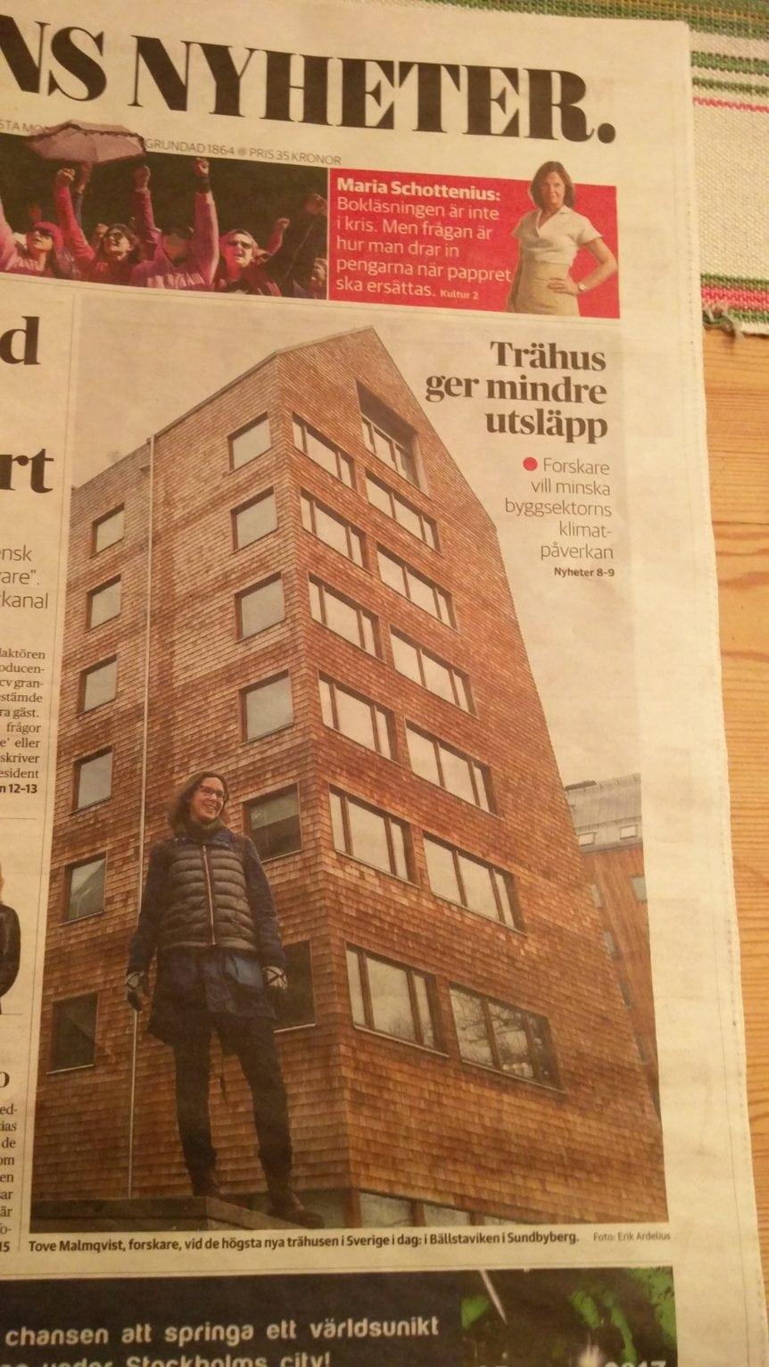 Innovativa bygglösningar i DN. Höghus i trä