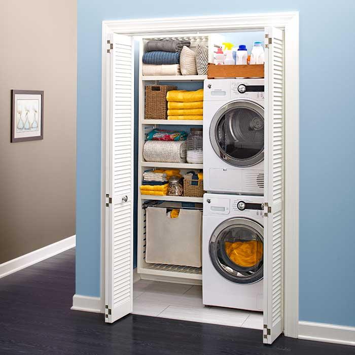 Tvättmaskin installerad i garderob